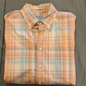 Vintage button up peach and baby blue shirt